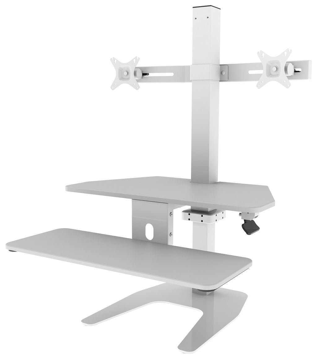 Dual Screen sit/stand tabletop workstation
